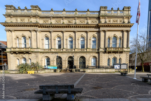 Photo  Blackburn town centre in Lancashire, England, The Town Hall by architect James P