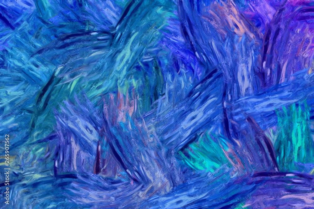 Abstract impressionism painting in Vincent Van Gogh style imitation. Art design background pattern for artistic creative printing production. Wall poster or canvas print template for interior decor.