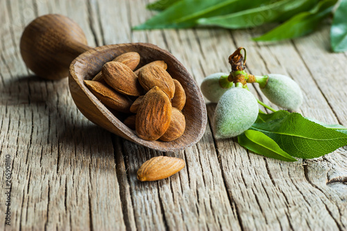 Almond nuts in wooden shovel on wooden table with green fresh raw almonds on alm Fototapet