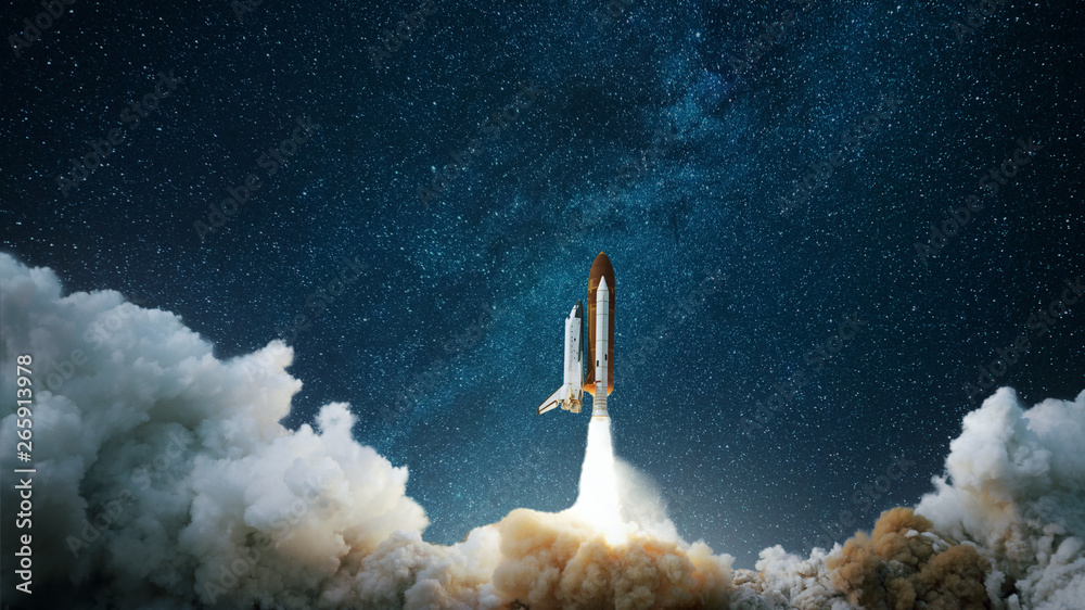 Fototapeta Spaceship takes off into the starry sky. Rocket starts into space. Concept