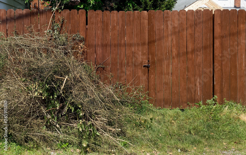 Piled yard cleanup debris against left side of brown wood fence. Fototapeta