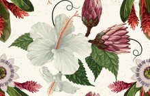 Vintage Beautiful And Trendy Seamless Tropical Summer Pattern Design In Super High Resolution. Pattern Decoration Texture. Vintage Style Design For Fabric Print, Wallpaper Background.