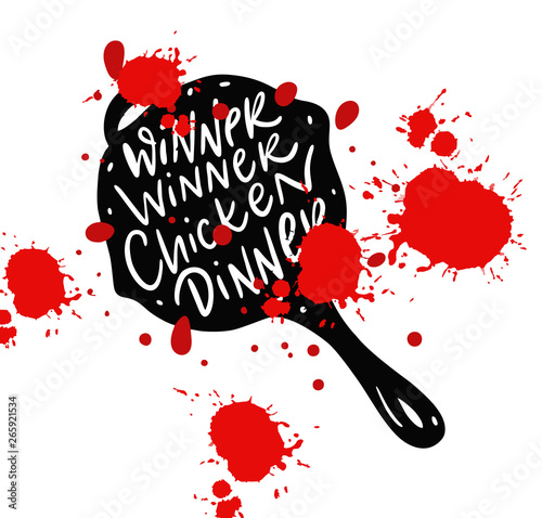 Photo  Winner Winner Chicken Dinner on pan hand drawn vector illustration