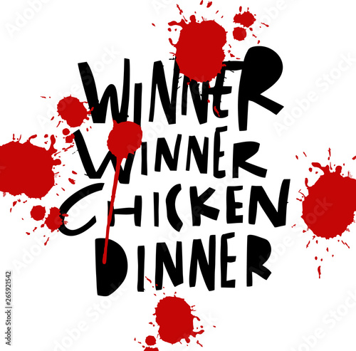 Photo  Winner Winner Chicken Dinner hand drawn vector illustration.