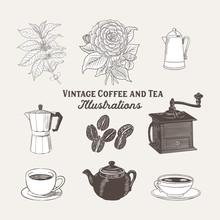 Vintage Coffee And Tea Illustr...