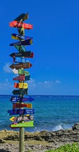Direction Signpost At The Xcaret Park Near Cancun, Mexico.