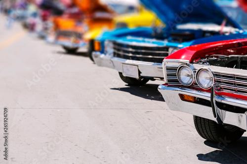 Obraz na plátne Classic american cars street display, old vintage vehicle show