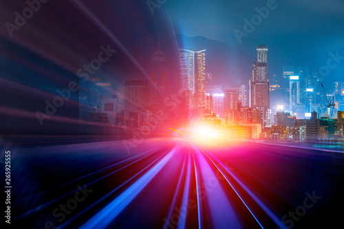 Poster Lieu connus d Asie Abstract speed technology background with Hong Kong City night scenes