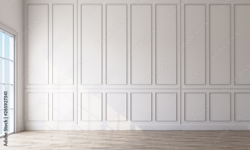 Fototapety, obrazy: Modern classic white empty interior with wall panels and wooden floor. 3d rendering