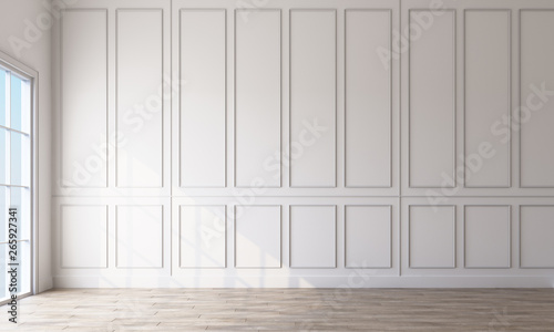 Obraz Modern classic white empty interior with wall panels and wooden floor. 3d rendering - fototapety do salonu