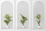 Minimalistic,white arch with many plant decorate. 3d rendering