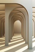 Minimalistic, Grey Arch Hallway Architectural Corridor With Empty Wall. 3d Render, Minimal.