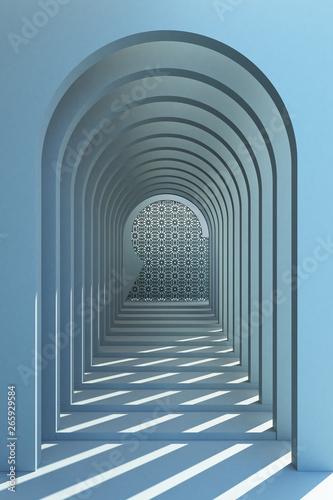 Plakaty do przedpokoju  minimalistic-blue-arch-hallway-architectural-corridor-with-empty-wall-and-arabic-pattern-3d-render-minimal