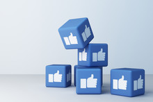 Like Facebook 3d Box With White Background. 3d Rendering