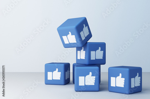 Photo Like facebook 3d box with white background. 3d rendering