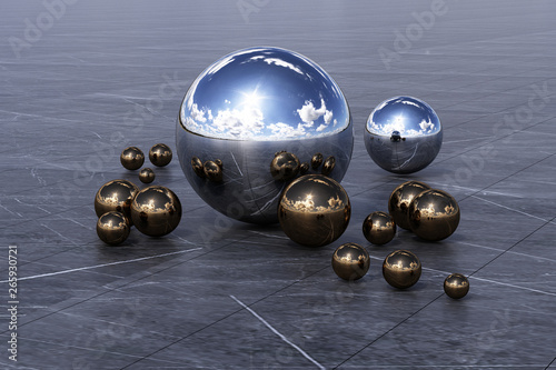 Stampa su Tela Geometric shapes with cloudy environment reflected on sphere