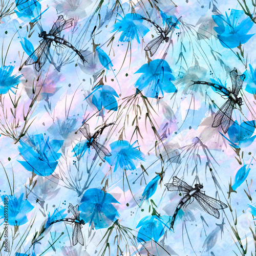 Photo sur Toile Papillons dans Grunge Seamless watercolor background with, flowers, paint splash.Watercolor card with a picture of dragonfly,flower branch, poppy, peony, sheet,floral pattern.Flower fragrance.Trendy blue vintage background