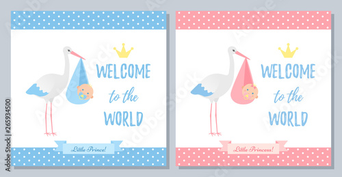 Baby Shower Invitation Card Vector Baby Boy Girl Banner