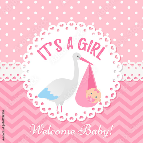 Baby Invite Card Vector Baby Shower Girl Design Cute Pink Banner Birth Party Background Happy Greeting Poster Welcome Template Invitation With Stork And Newborn Kid Cartoon Illustration Buy This Stock Vector