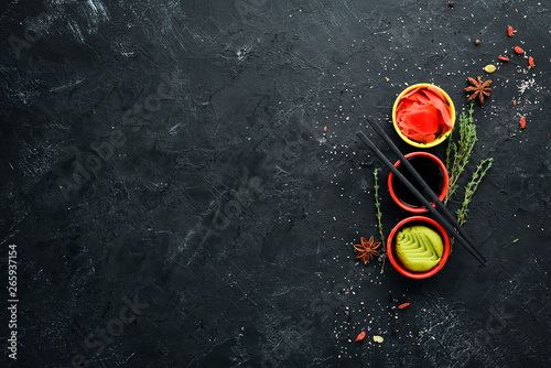 Wasabi, ginger and soy sauce Wallpaper Mural