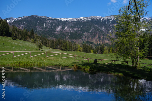 Beautiful mountain lake in Javorniski rovt