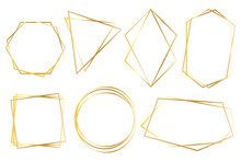 Collection Of Golden Polygonal Luxury Frames Vector Set