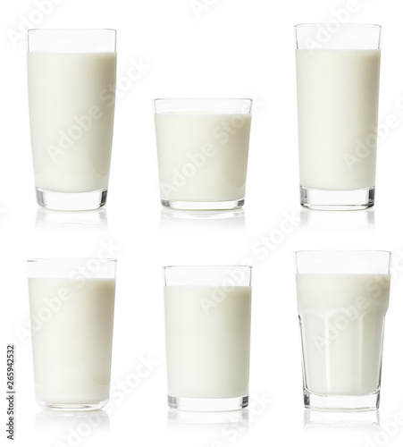 Photo set of various glasses with milk