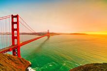 View Of Golden Gate Bridge In San Francisco At Sunset.