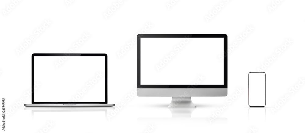 Fototapeta set new model of computer display or desktop and smartphone laptop on white background,Mockup Separate Groups