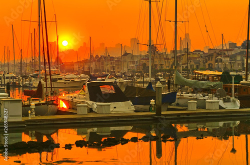 View of the harbor in San Francisco at sunrise.