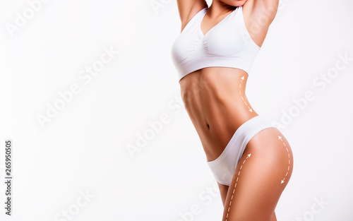 Carta da parati Sensual female body, cosmetic surgery and skin liposuction.