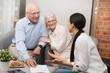 Leinwandbild Motiv Senior couple planning their investments