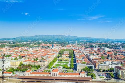 Fototapeta Zagreb, Croatia, aerial shot of historic city center, famous horseshoe parks, central train station, art pavilion and cathedral in background obraz na płótnie