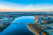 canvas print picture - Hopkins River in Warrnambool town, Australia - aerial view