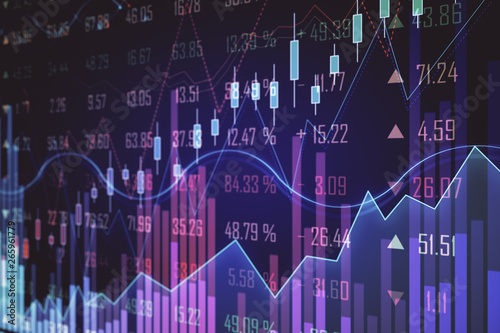 Canvas Prints Amsterdam Purple forex chart backdrop