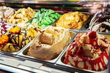 Ice Cream In Rome, Italy. Italian Gelateria. Ice-cream Cafe, Show Window With Sweeties.