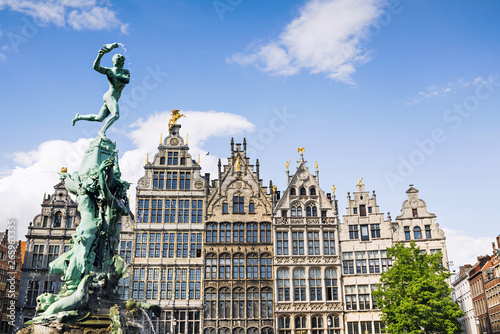 Recess Fitting Antwerp Brabo monument at the Grote markt square in Antwerp, Belgium. Beautiful old town of Antwerpen. Popular travel destination and tourist attraction