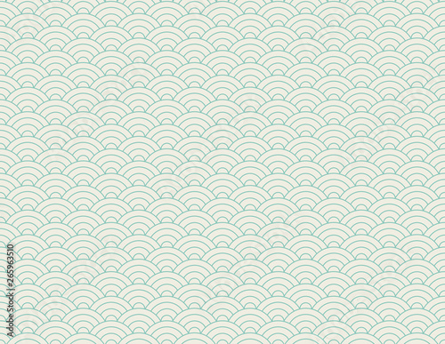 Chinese vector background with waves Canvas Print
