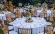 Wedding outdoor table set up. Beautiful garden wedding venue