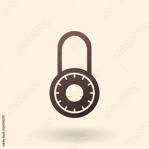 Fotografie, Obraz  Vector Black Silhouette Icon - Round Combination Padlock