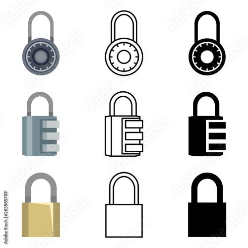 Valokuvatapetti Vector Set of Different Style Padlock Icons.