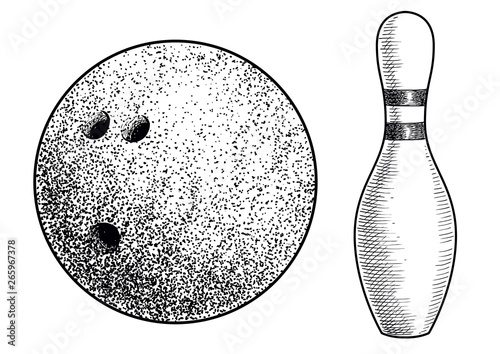 Valokuvatapetti Bowling ball and skittle illustration, drawing, engraving, ink, line art, vector