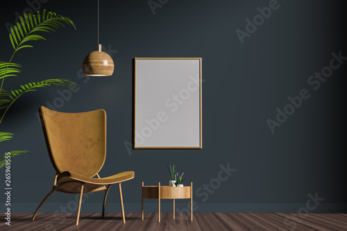 Fotomural Mock up poster frame in scandinavian style interior