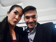 Close-up Business woman and business man selfie photo and break time for relaxation in office.