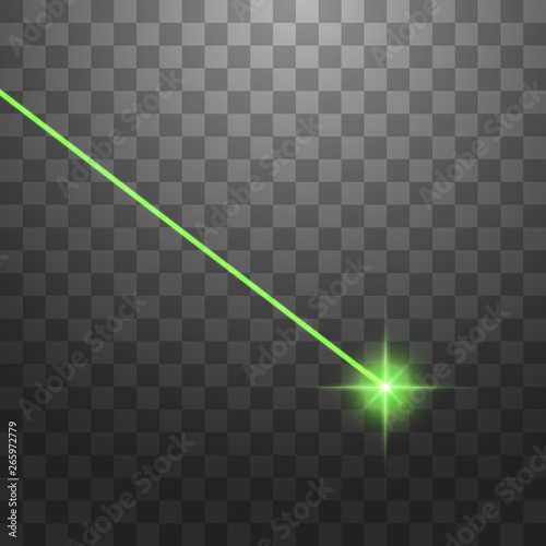 Abstract green laser beam. Isolated on transparent black background. Vector illustration Wall mural