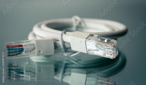 Fototapety, obrazy: Internet cables closeup