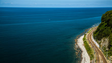 The Railroad Along The Shore Of The Black Sea
