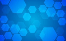 Abstract Geometric Hexagon Pattern Overlay On Blue Background. Technology Pattern With Copy Space. Vector Illustration.