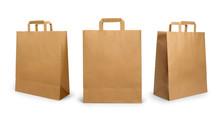 Folded Paper Bag With Handle Isolated On White Background