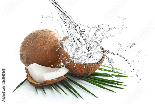 Ripe coconuts on white background - 265985565